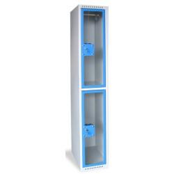 Armoire multicases portes plexi 1 colonne 2 cases L40xP49xH180 cm