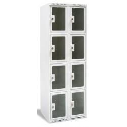 Armoire multicases portes plexi 2 colonnes 10 cases L60xP49xH180 cm