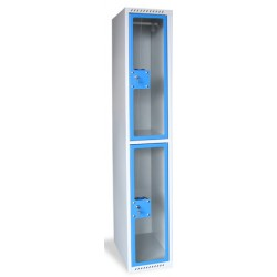 Armoire multicases portes plexi 1 colonne 2 cases L30xP49xH180 cm