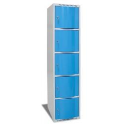 Vestiaire multicases portes bombées 1 colonne 5 cases L40xP49xH180 cm