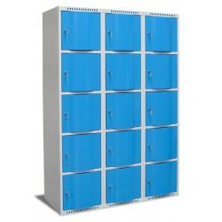 Vestiaire multicases portes bombées 3 colonnes 15 cases L90xP49xH180 cm