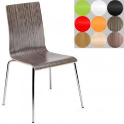 Lot de 4 chaises empilables Café monocoque stratifié pieds chromé