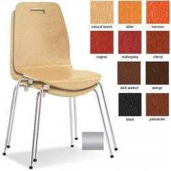 Lot de 4 chaises empilables Locronan monocoque bois teinté pieds alu