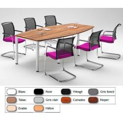 Table de réunion tonneau pieds carrés chromé 200x120 cm