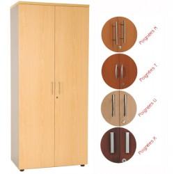 Armoire haute manager 2 portes H180xL80 cm 4 tablettes bois