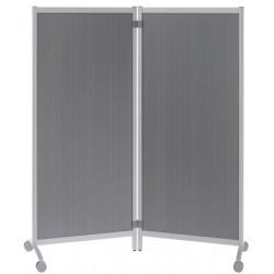 Lot de 2 cloisons mobiles panneau coloris aluminium H170 x L152 cm