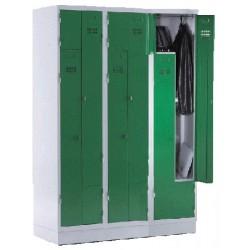 Armoire vestiaire monobloc gain de place 3 colonne 6 cases
