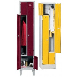 Armoire vestiaire monobloc gain de place 1 colonne 2 cases