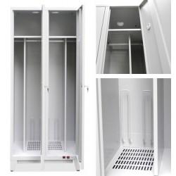 Vestiaire sechant 2 cases sur pieds biaises 1000 w L80xP49xH206 cm