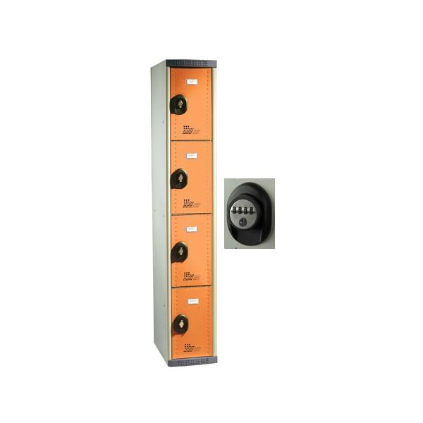 Vestiaires multicasiers à monter 4 portes avec serrure à code H180xP50xL40 cm