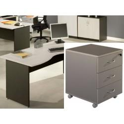 Caisson mobile Stratus 3 tiroirs plats finition gris clair et anthracite