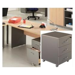 Caisson mobile Stratus 3 tiroirs plats finition hêtre ou aluminium