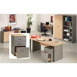Caisson Stratus hauteur bureau P80 cm 3 tiroirs finition hêtre et aluminium