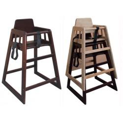Chaise haute bébé en bois fonce