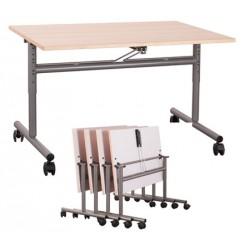 Table mobile rabattable et réglable stratifiée chant hêtre 160x80 cm