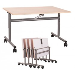 Table mobile rabattable et réglable stratifiée chant hêtre 160x70 cm