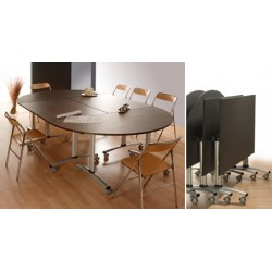 Table rabattable mobile Celcius 160x80 mélaminé 22 mm chant PVC