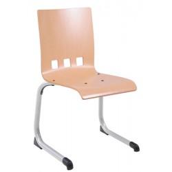 Chaise coque bois appui sur table Bertille alu T6