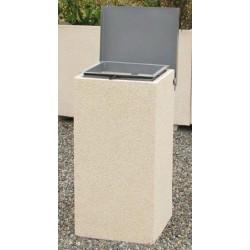 Corbeille Hyères 50L en béton crépis sable 42x42xH75 cm