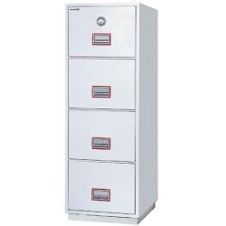 Classeurs ignifugés pour supports papier 4 tiroirs serrure à clé H150xL52,8xP67,5 cm
