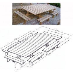 Table de pique-nique Jumbo L300xP200 cm