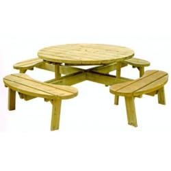 Table de pique-nique ronde Anglet diamètre 226xH70 cm
