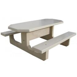Table pique-nique monobloc ovale en béton coloré