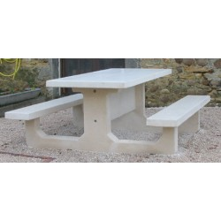 Table pique-nique monobloc rectangle en béton blanc