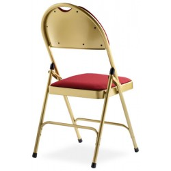 Lot de 4 chaises pliantes accrochables Loan laiton doré assise et dossier tissu M1