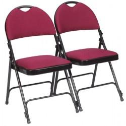 Lot de 4 chaises pliantes accrochables Loan assise et dossier tissu enduit M2