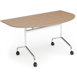 Table mobile et rabattable Oxygène demi rond 160x90 cm structure chromée