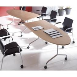 Table mobile et rabattable Oxygène demi ovale 160x80 cm structure chromée