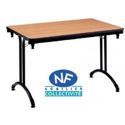 Table pliante Omega stratifiée ép. 24mm chant alaise 1/2 ronde ø 140 cm