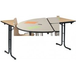 Table pliante Delta 1/2 rond 140x70 mélaminé 22 mm chant antichoc