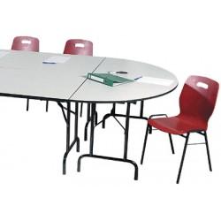 Table pliante Alpha 1/2 rond 140x70 mélaminé 22 mm chant antichoc