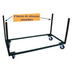Chariot sans poignée pour transport de tables L180 cm