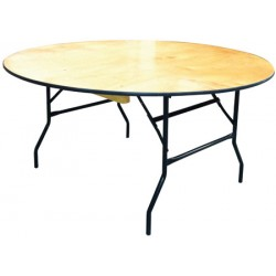 Table pliante plateau bois multi services diam. 183 cm chant PVC