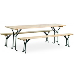 Ensemble festivites Eco : 1 table 220x70 cm et 2 bancs
