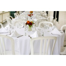 Lot de 76 chaises bistrot blanches empilables