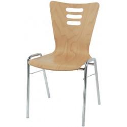 Chaise coque bois Natacha empilable vernis couleur
