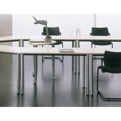 Table de réunion modulable 1/2 lune 120x60 cm pieds ronds