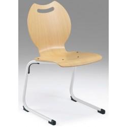 Chaise coque Ambre appui sur table pieds alu finition naturelle T6