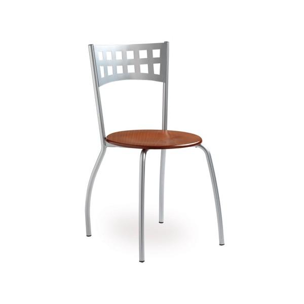 chaise 4 pieds mediterranee assise acajou et pieds alu