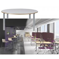 Table restauration Maïwenn 4 pieds ø 120 cm stratifié chant alaisé T1 à T6