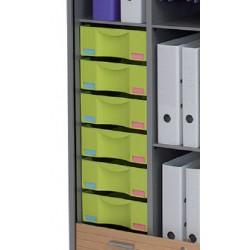 Lot de 6 tiroirs H10 cm avec étiquettes pour armoires Classe Eco