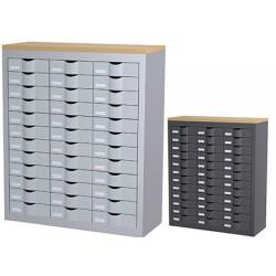 Meuble de classement 3 colonnes 36 tiroirs L87 x P33,5 x H106,5 cm