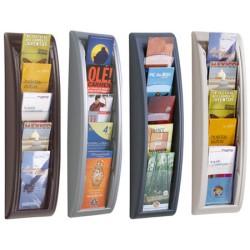 Présentoir mural 5 cases 1/3 A4 L18 x P9,5 x H65 cm