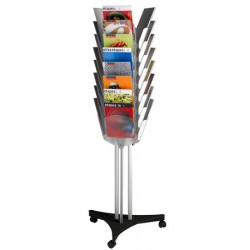 Présentoir mobile triple face 24 cases A4  L63,6 x P56 x H167 cm