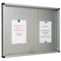 Vitrine Gentilly verre securit portes coulissantes fond tole 76x116 cm