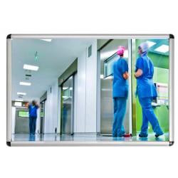 Miroir de sanitaire incassable Plexichok avec cadre alu et dos acier galva 400x600 mm